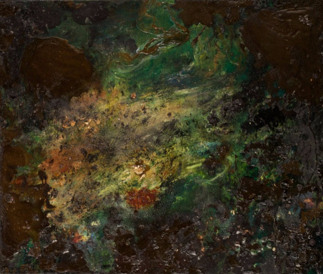 """black pool — 2011 Oil, silica, metallic powders, glass & pastel on canvas covered panel 32 1/4"""" x 28"""""""