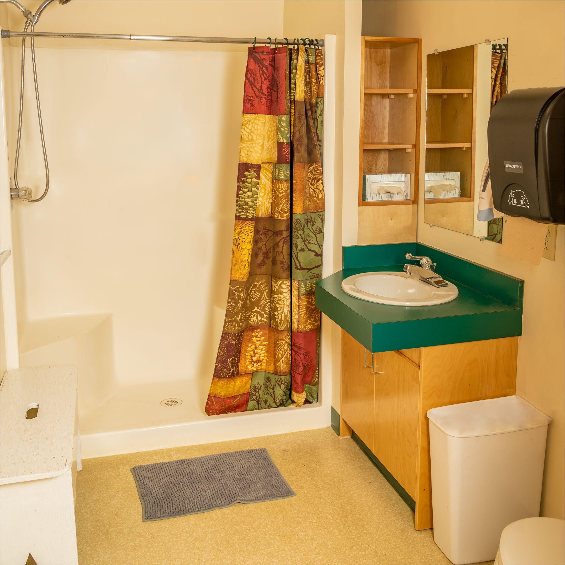 An image of the indoor washroom at Island Lake!