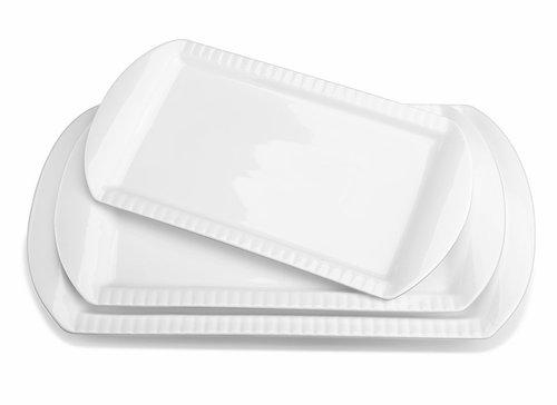 White 15 Inch Porcelain Embossed Rectangular Platter, Serving Plates, Set of 3