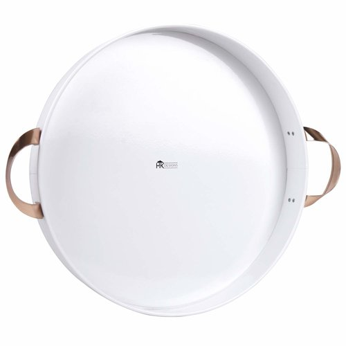 White Round Metal Tray with Handles 14 inch