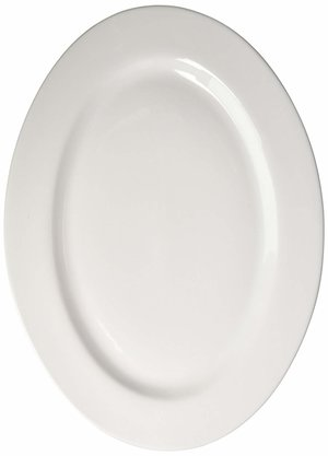 White Cordon Bleu Porcelain 18-Inch Oval Serving Platter