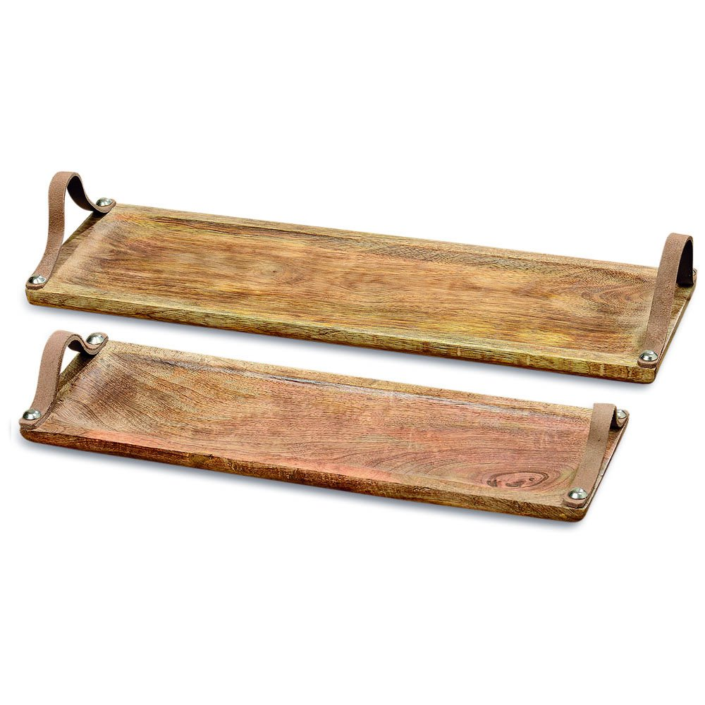 Farmer's Market Serving Board with Leather Handles Mango Wood, 18 and 15 Inches Long