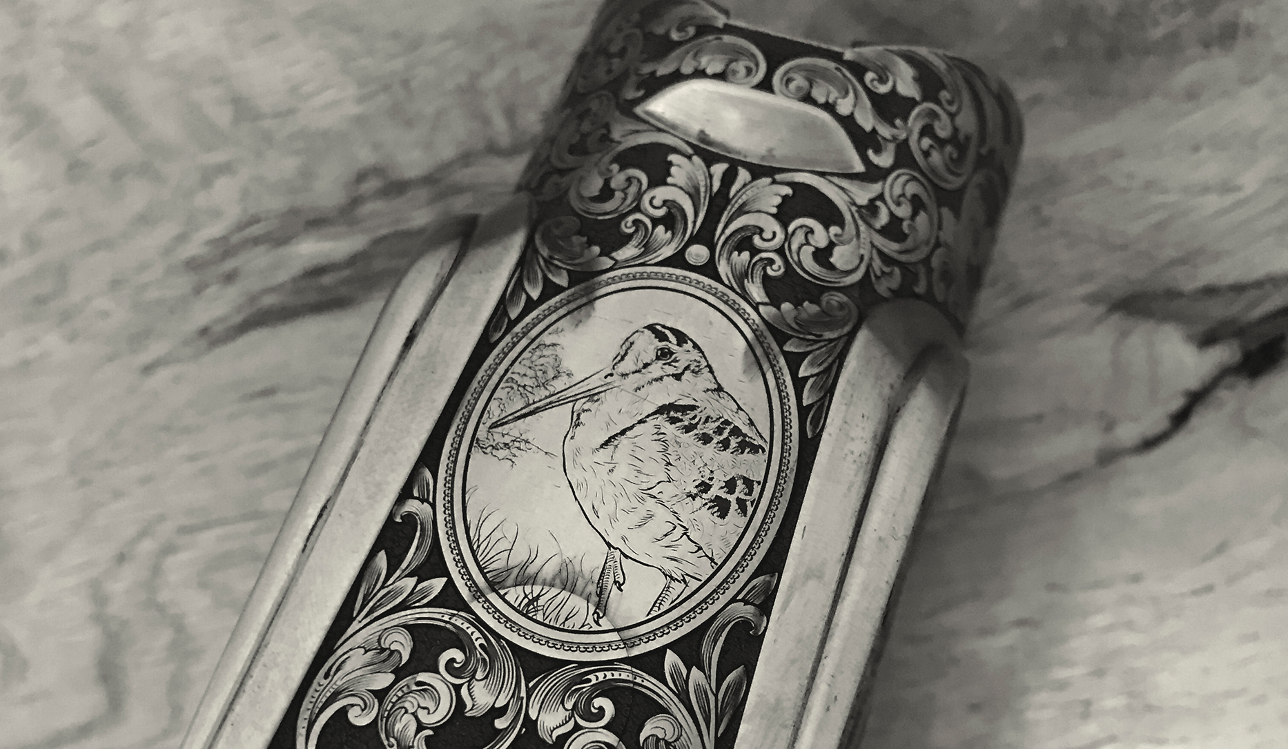 12b Square action woodcock engraving on base of action.jpg