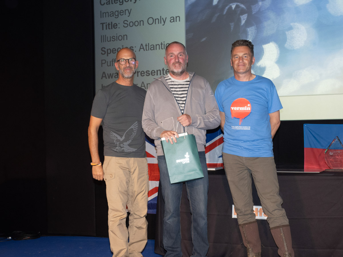 Marc Weber from France, BPOTY 2019 Creative Imagery Gold Award winner. Pictured with Peter Antoniou of Swarovski Optik (left) and Chris Packham (right)