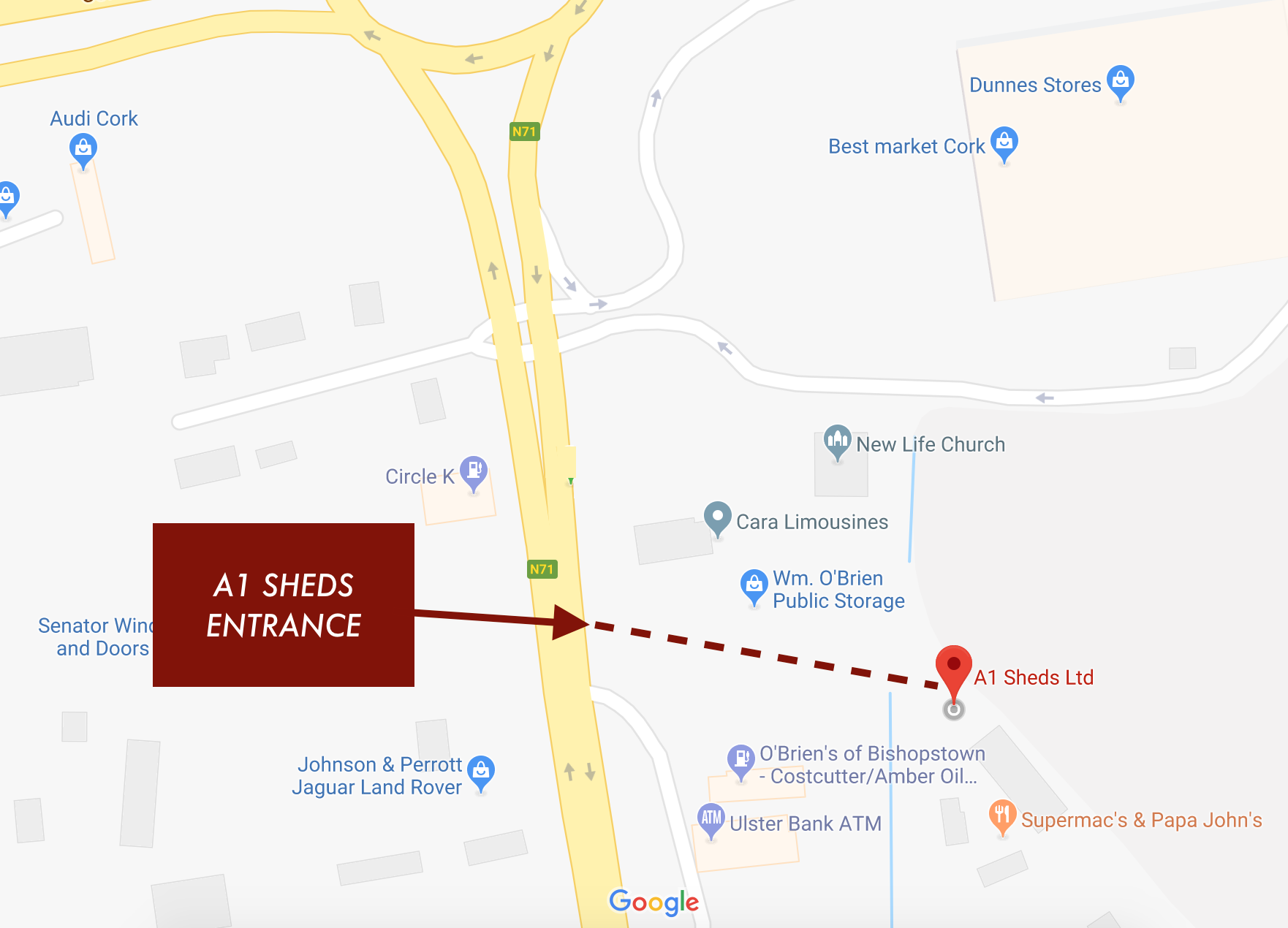 A1-Sheds-Location-Cork-Showroom-Map.png