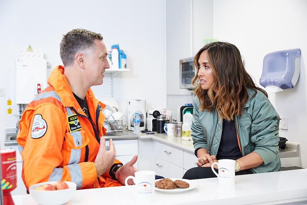 Myleene meets helicopter doctor Simon