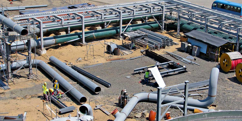 A pipe fabrication yard
