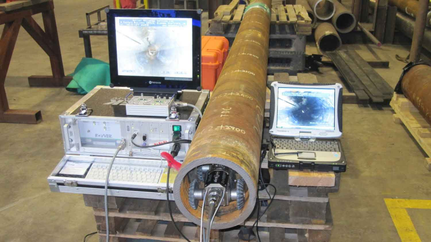 Visual pipe inspection using a robotic crawler