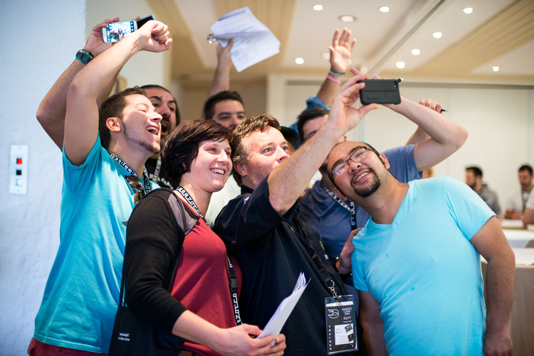 Taking selfies with delegates at Barista Camp 2014. Photo by Giulia Mule