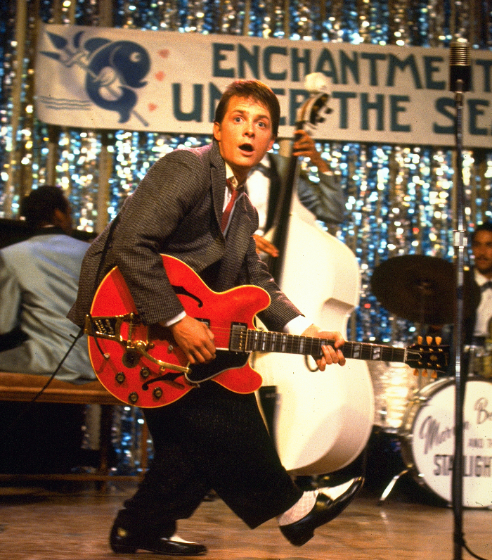 Favorite Scene - Fox admits that his favorite scene in the film takes place in 1955 when he performs Chuck Berry's classic