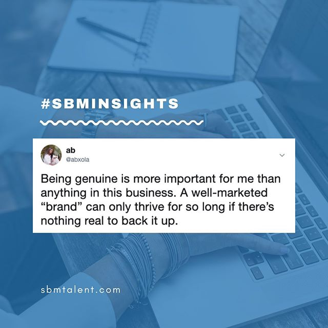 Being genuine is everything — #SBMInsights from our marketing lead @abxola⠀ ⠀ #SBMTalent #marketing #contentmarketing #marketingfirm #socialmediamanagement #londonagency