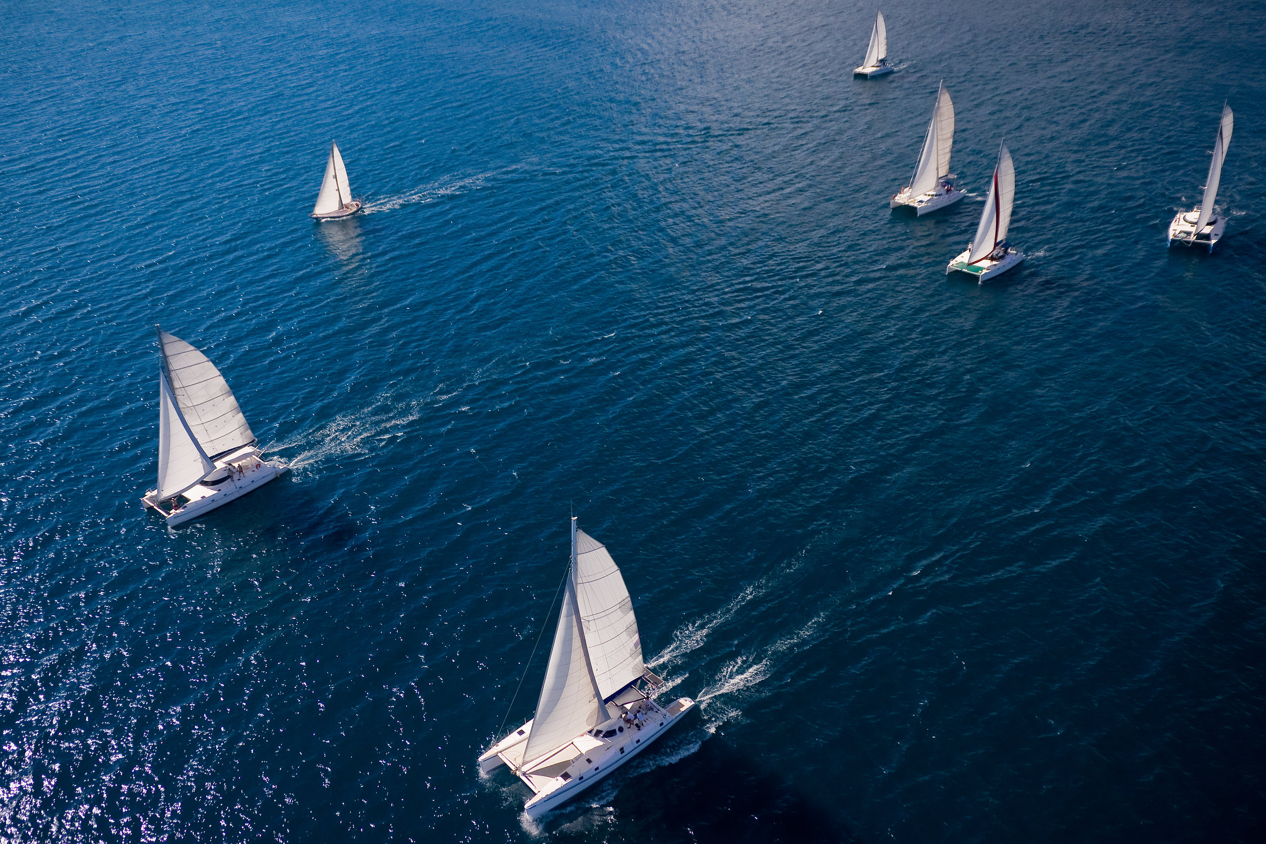 Aerial view of sailboats sailing in ocean