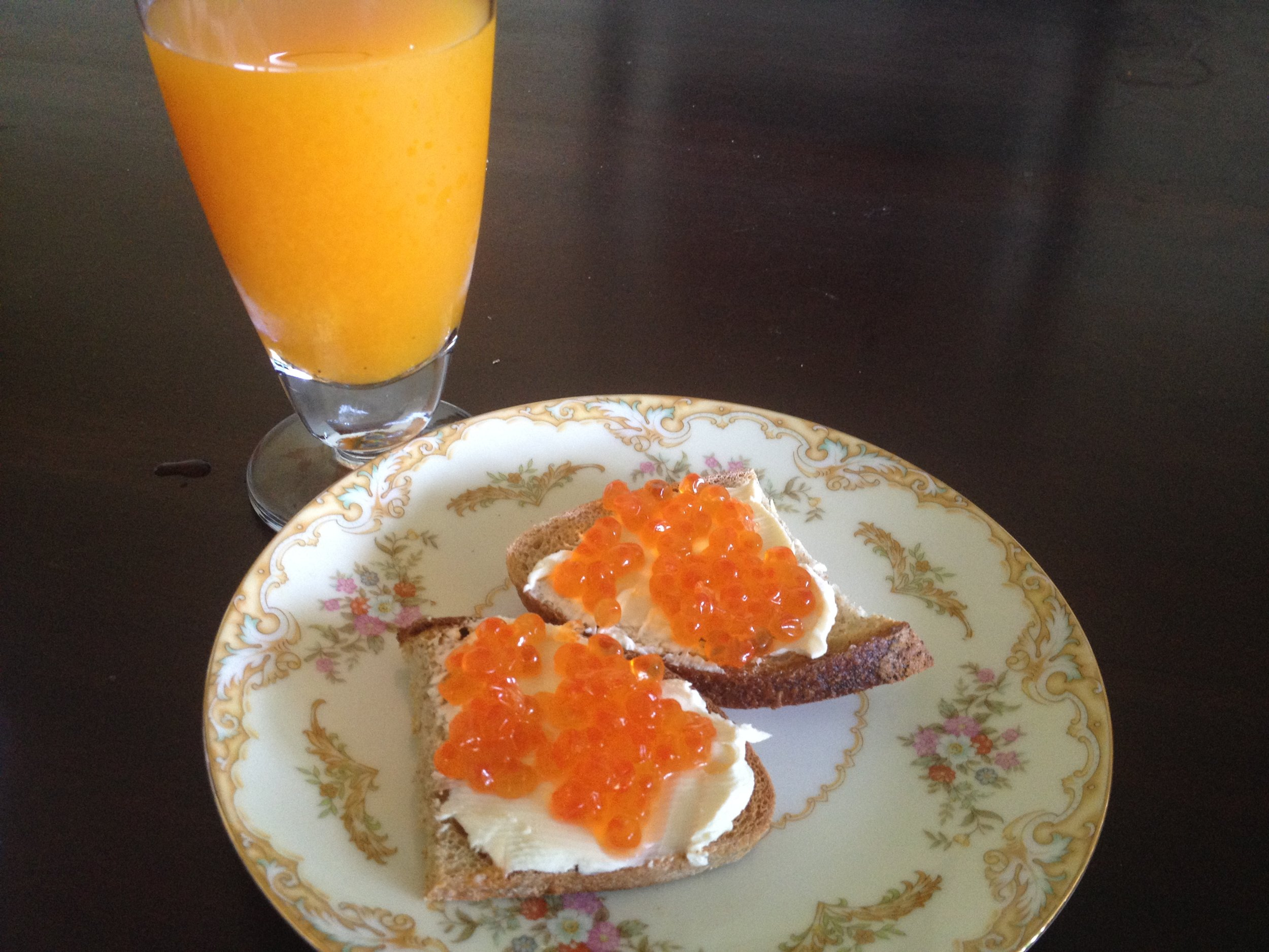 Ikura salmon toast with fresh passionfruit juice
