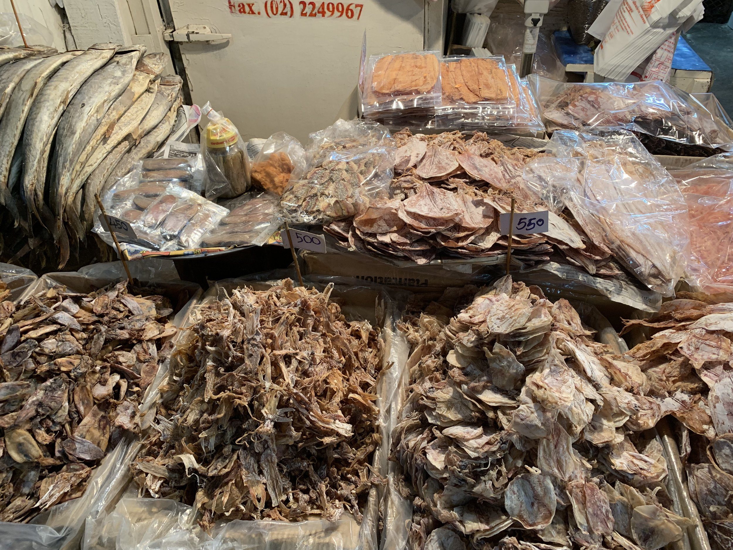 Dehydrated seafood at the fish market in Bangkok.