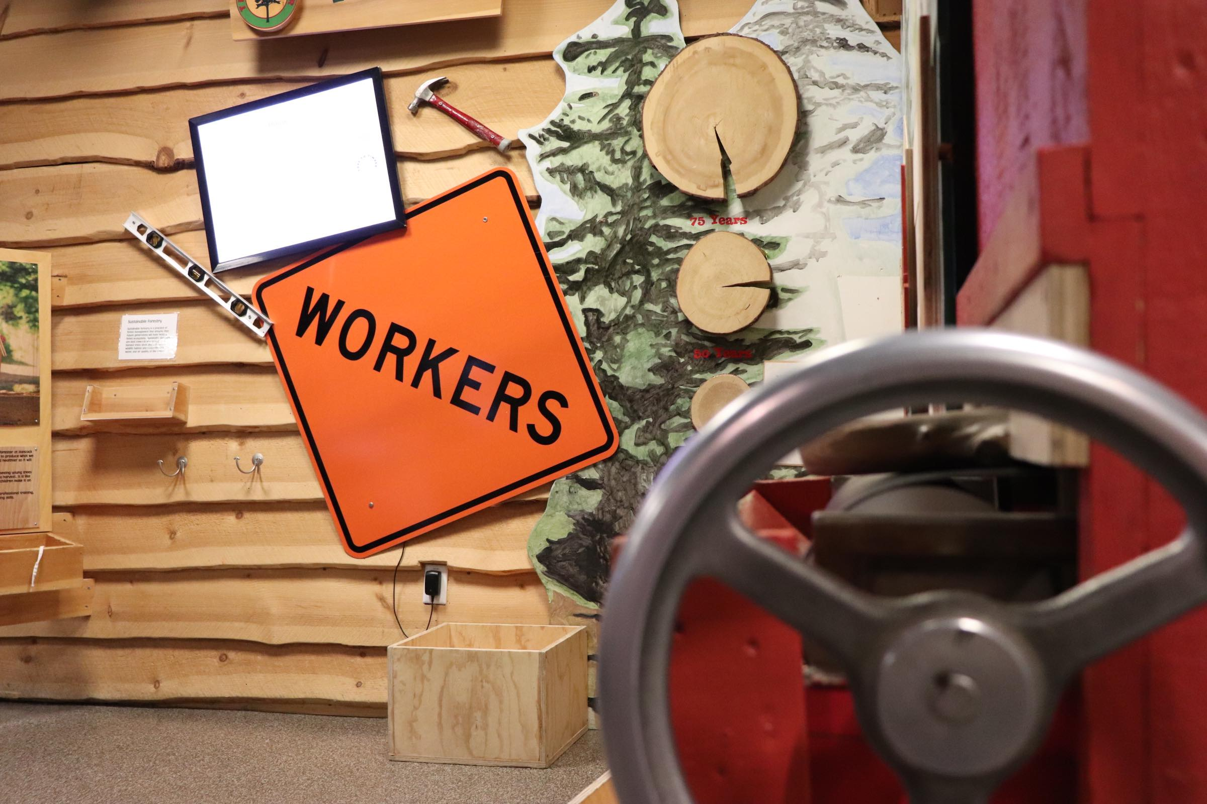 Workers sign and wheel in Construction Zone of Tree to TImber (Photo By Simone Verria).jpg