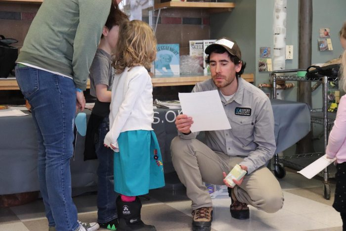 Eric Venturini, a native pollinator conservation expert from The Xerces Society, educates visitors on the importance of Honey Bees in our community.