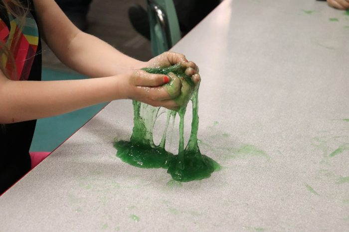 Kiddo playing with the final product: Silly Slime.