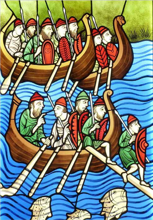 Newly commissioned stained glass panel derived from a 12-century manuscript, showing the arrival of the Vikings