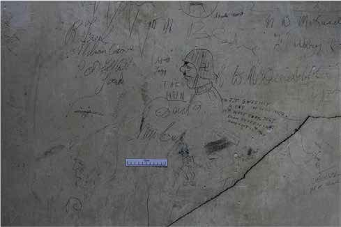 World War II graffiti in store room.