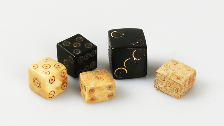 Dice were used in medieval games and were made of different materials such as bone jet and ivory.