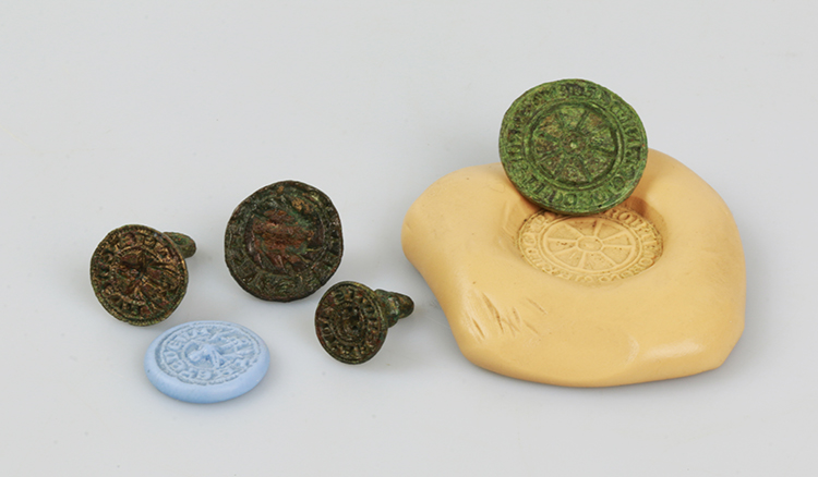 Medieval seal matrices made of copper alloy.