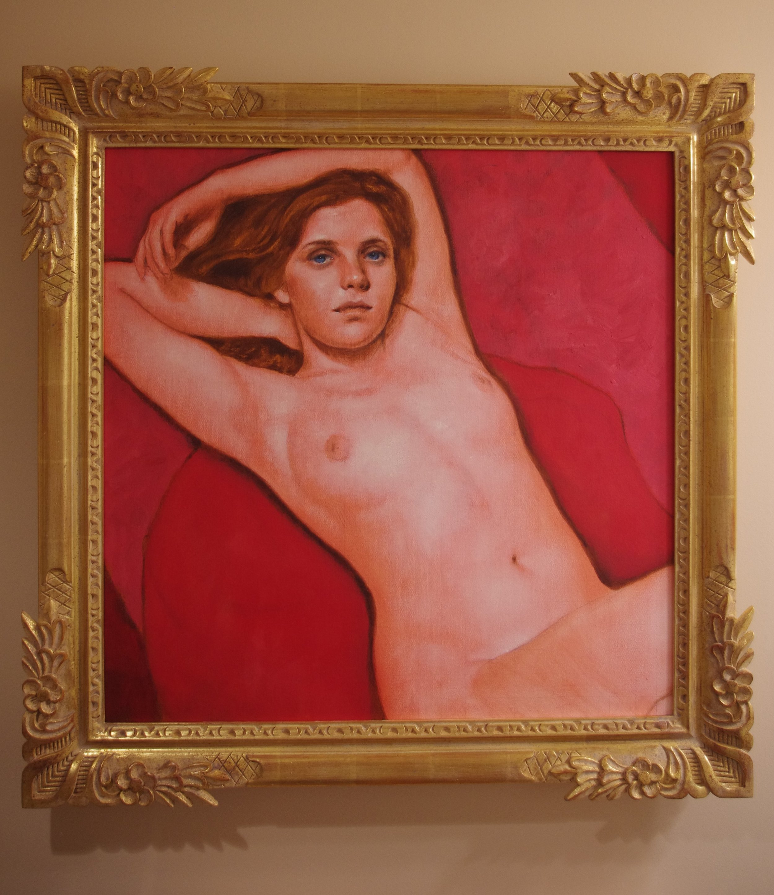 Daniel Maidman |  Pink Portrait of Syrie  | oil on canvas | 24x24 inches