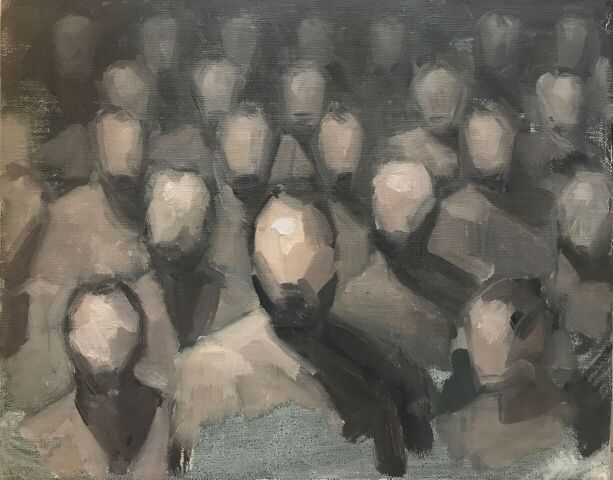 """Hyeseung Marriage-Song, Sketch for Everyone is Golem, (2018), Oil on canvas, 8"""" x 10"""""""