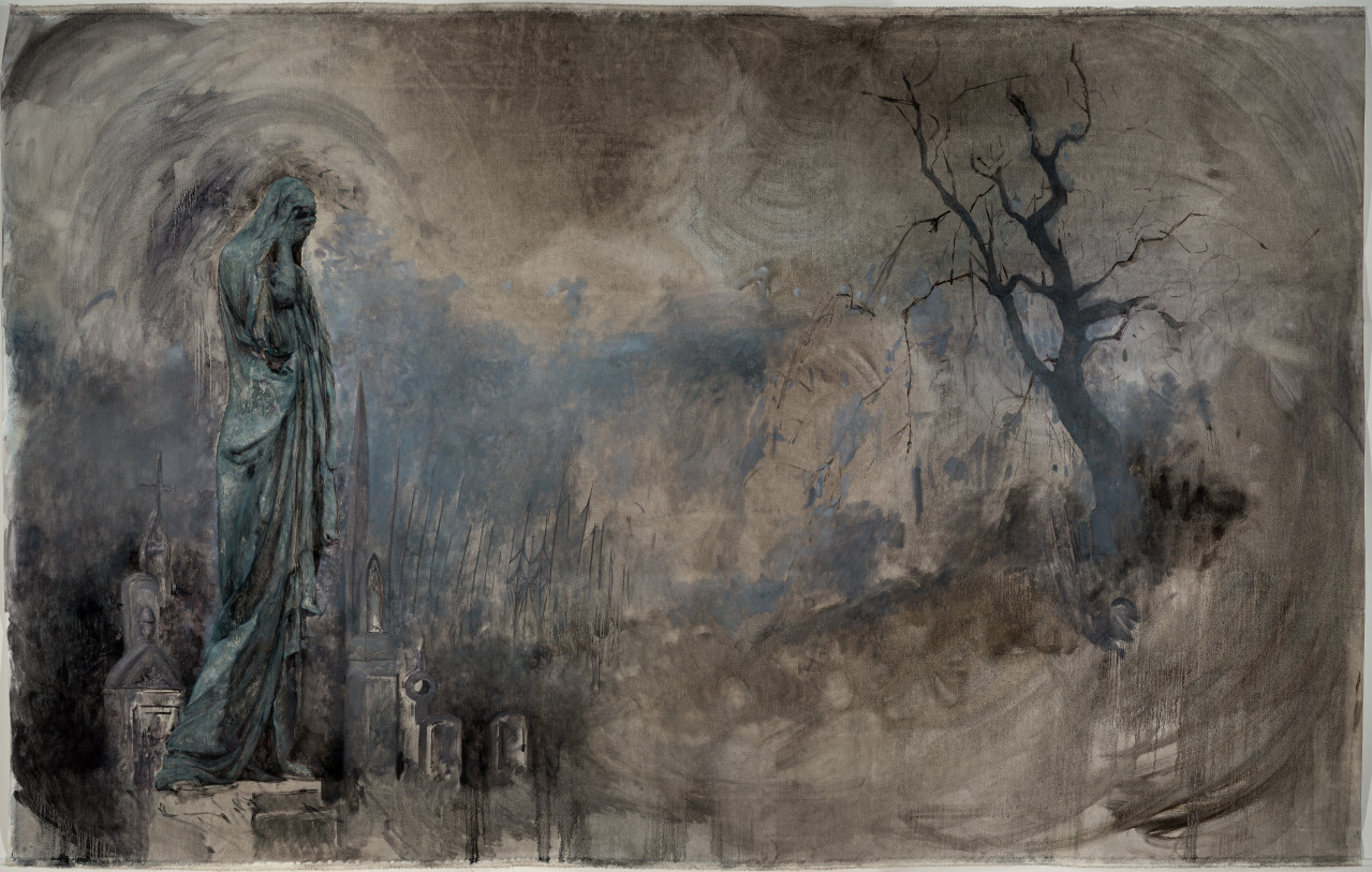 """Hyeseung Marriage-Song. Chapter 1: In the Cemetery, (2018), Oil on linen, 79"""" x 124"""""""