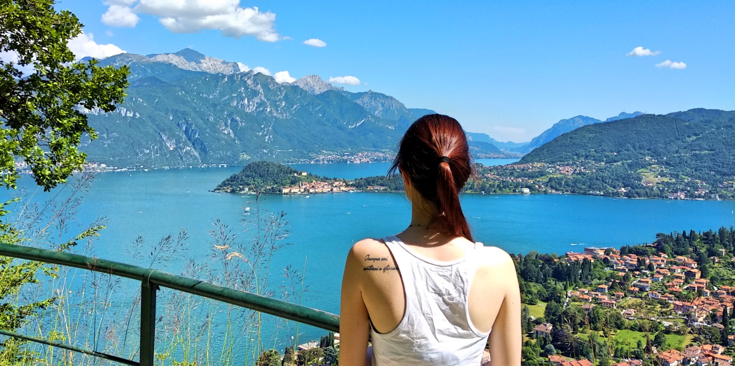 Elisa, our Rentals Consultant, in one of her typical contemplative moments in front of Lake Como
