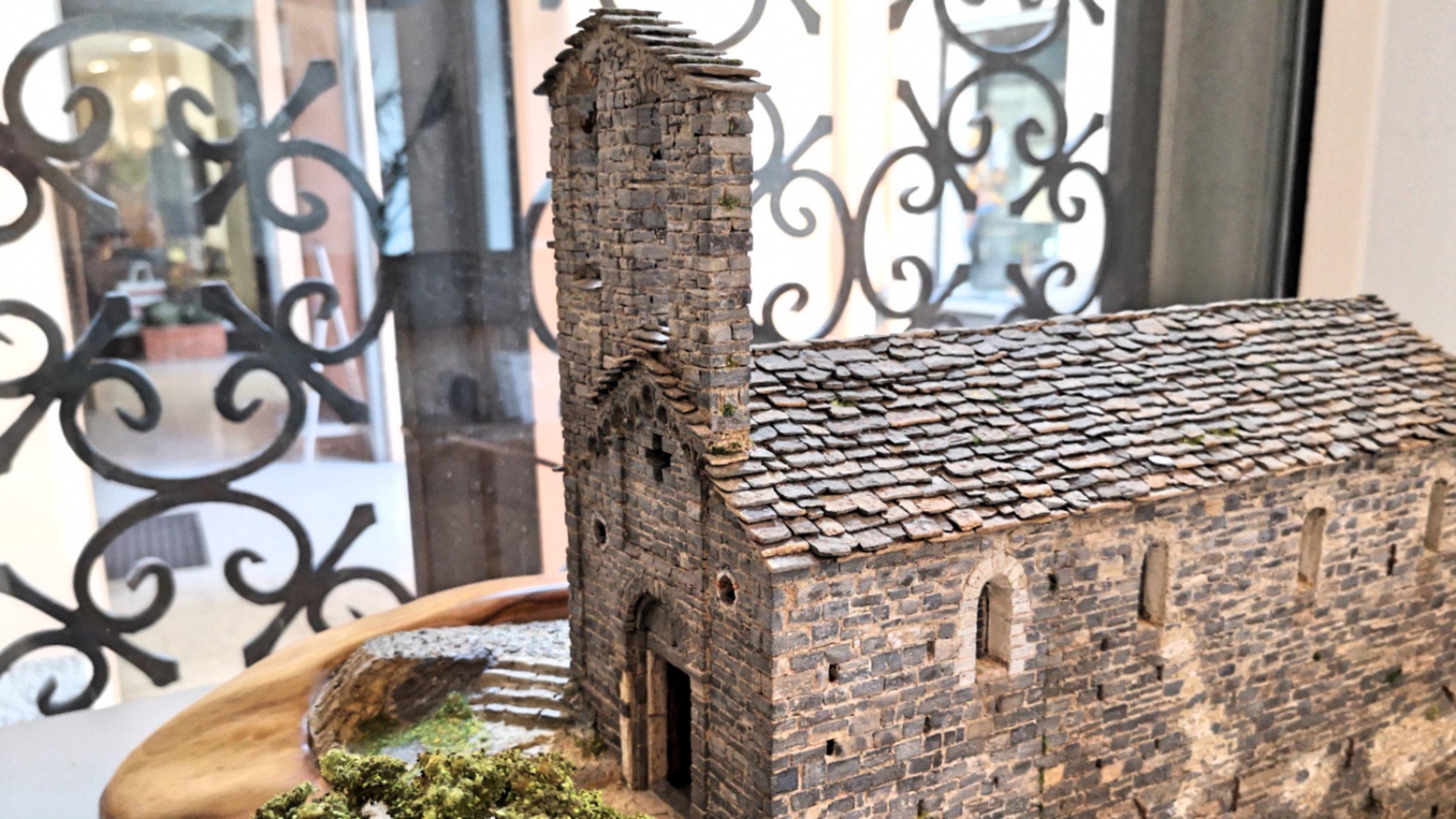 The hand made masonry miniature of the Church of S.S Giacomo & Filippo (Spurano, Tremezzina)