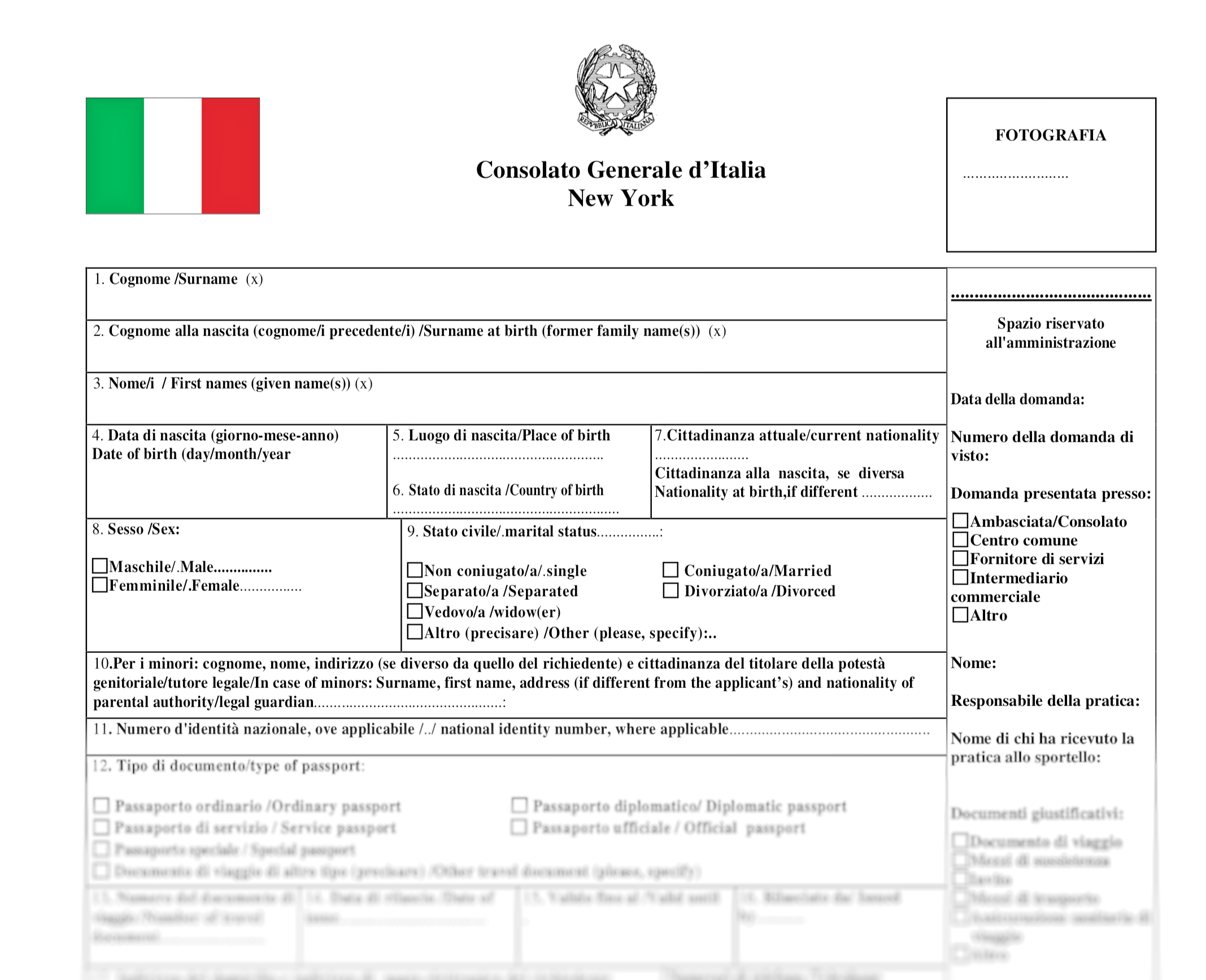 An example of the 10-pages paperwork provided by the Italian consulate