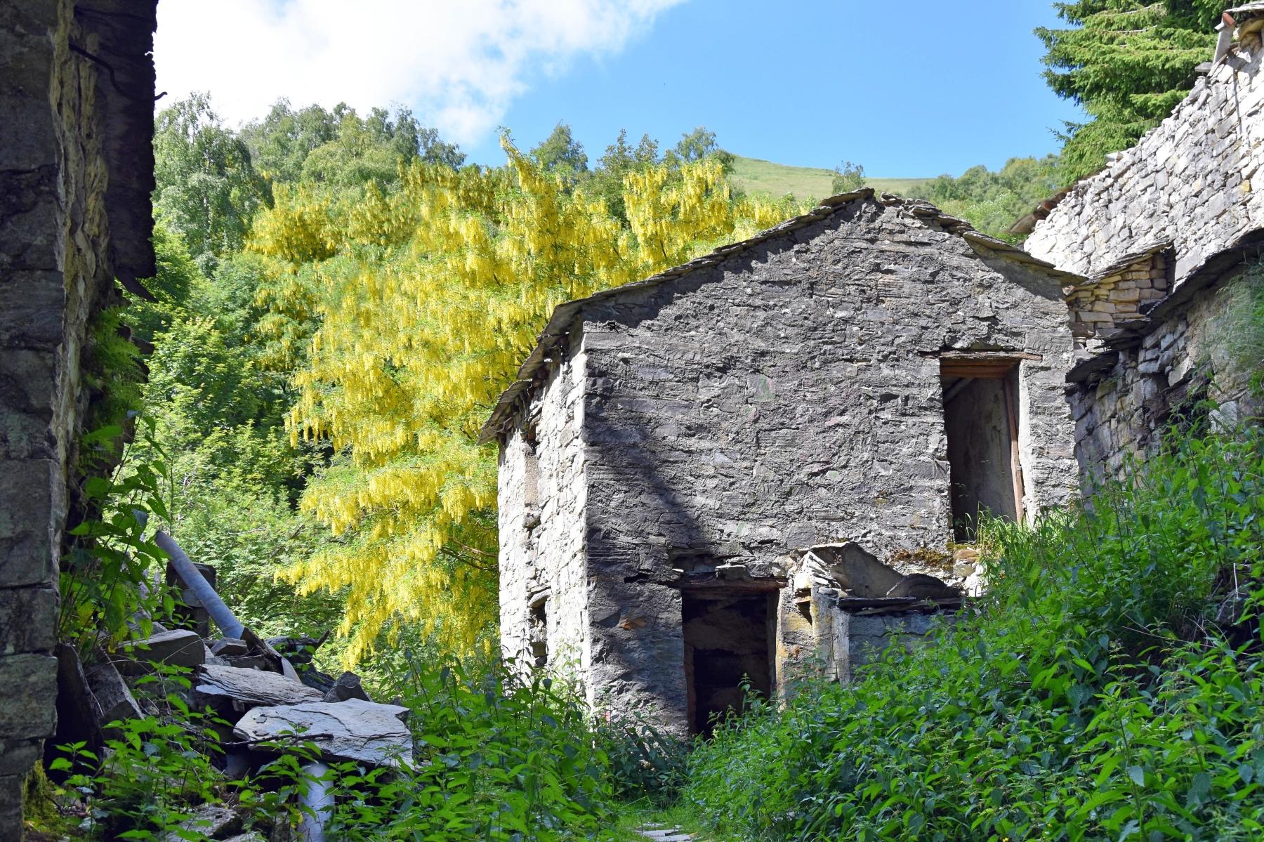 Stone houses along the Sentiero basso. Image by Luigia Carloni