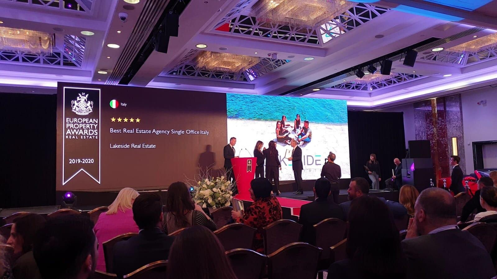 Lakeside Real Estate team on the stage during the award ceremony at the European Property Awards