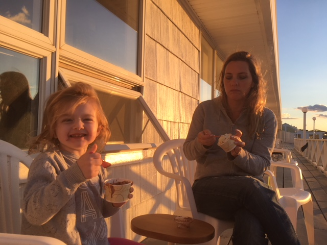 Grabbing ice cream on our North Fork Trip