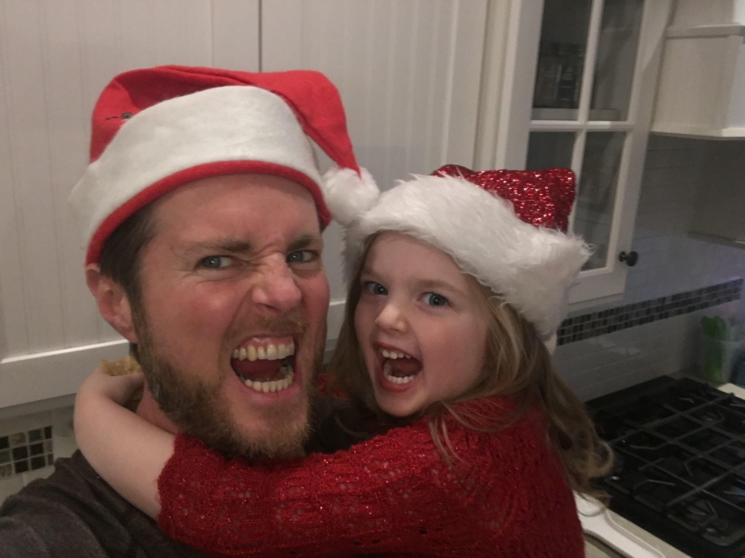 Being silly with Melina on Christmas Eve