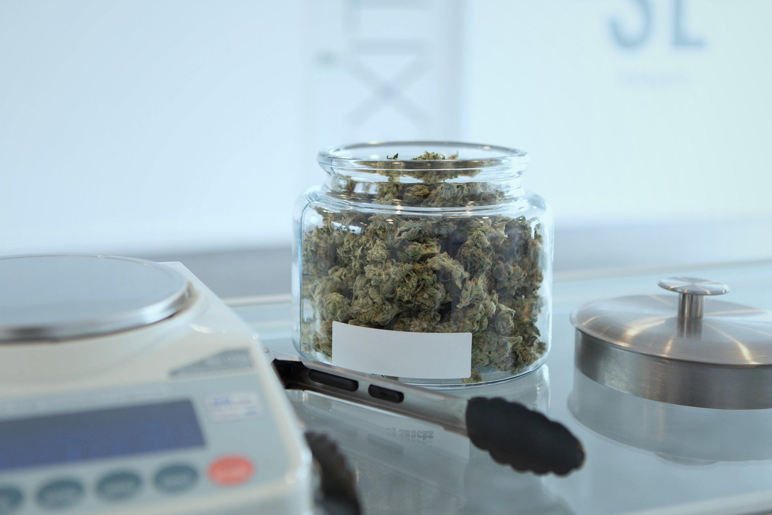 Cannabis in apothecary jars with a digital scale in the foreground.