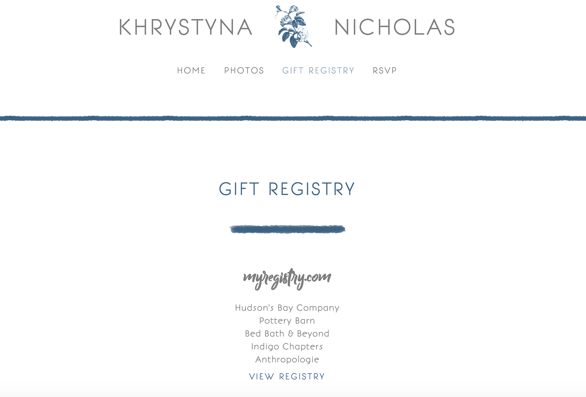 How the registry link appeared on our website before the engagement party!