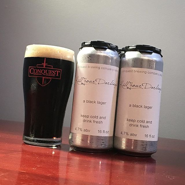 In addition to all the Finisher madness tomorrow, we're releasing Kill Your Darlings, our new black lager. This is tuned just right for the weather at 4.7% abv, with hints of chocolate and roast to go with a dry finish. It's a dark beer that drinks much easier than it looks.  We'll have a small number of crowler four-packs available for purchase when we open at 10. See you tomorrow.