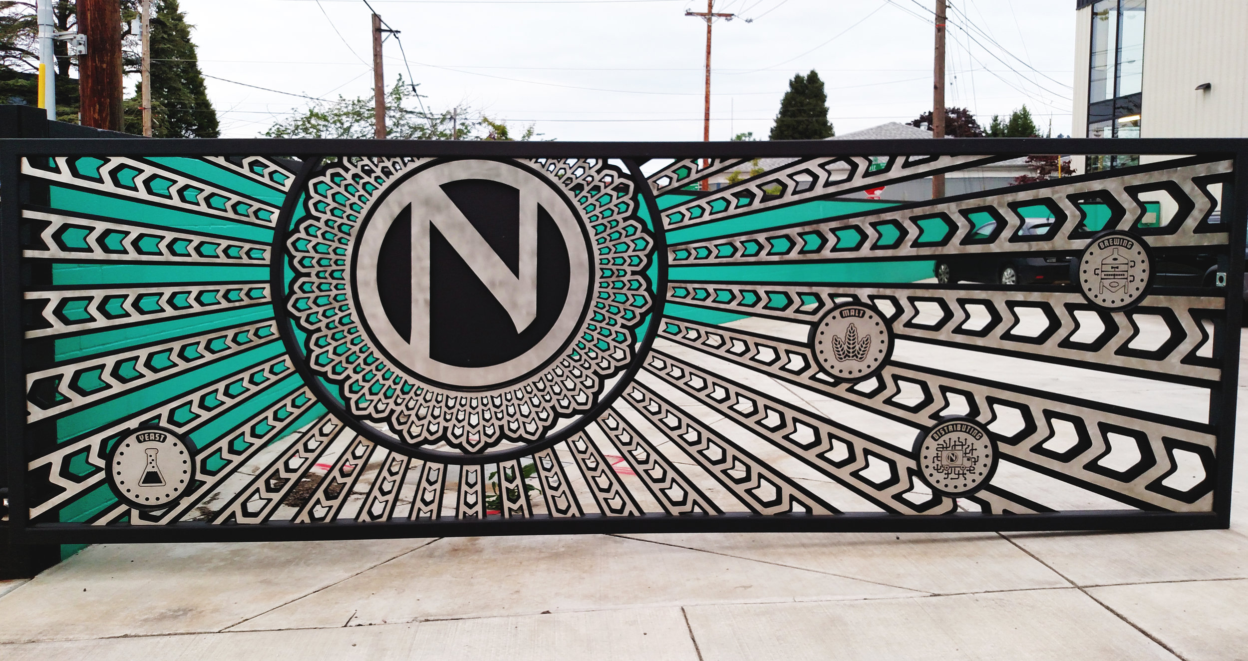 Ninkasi-Brewing-stainless-steel-laser-cut-triptych-gate