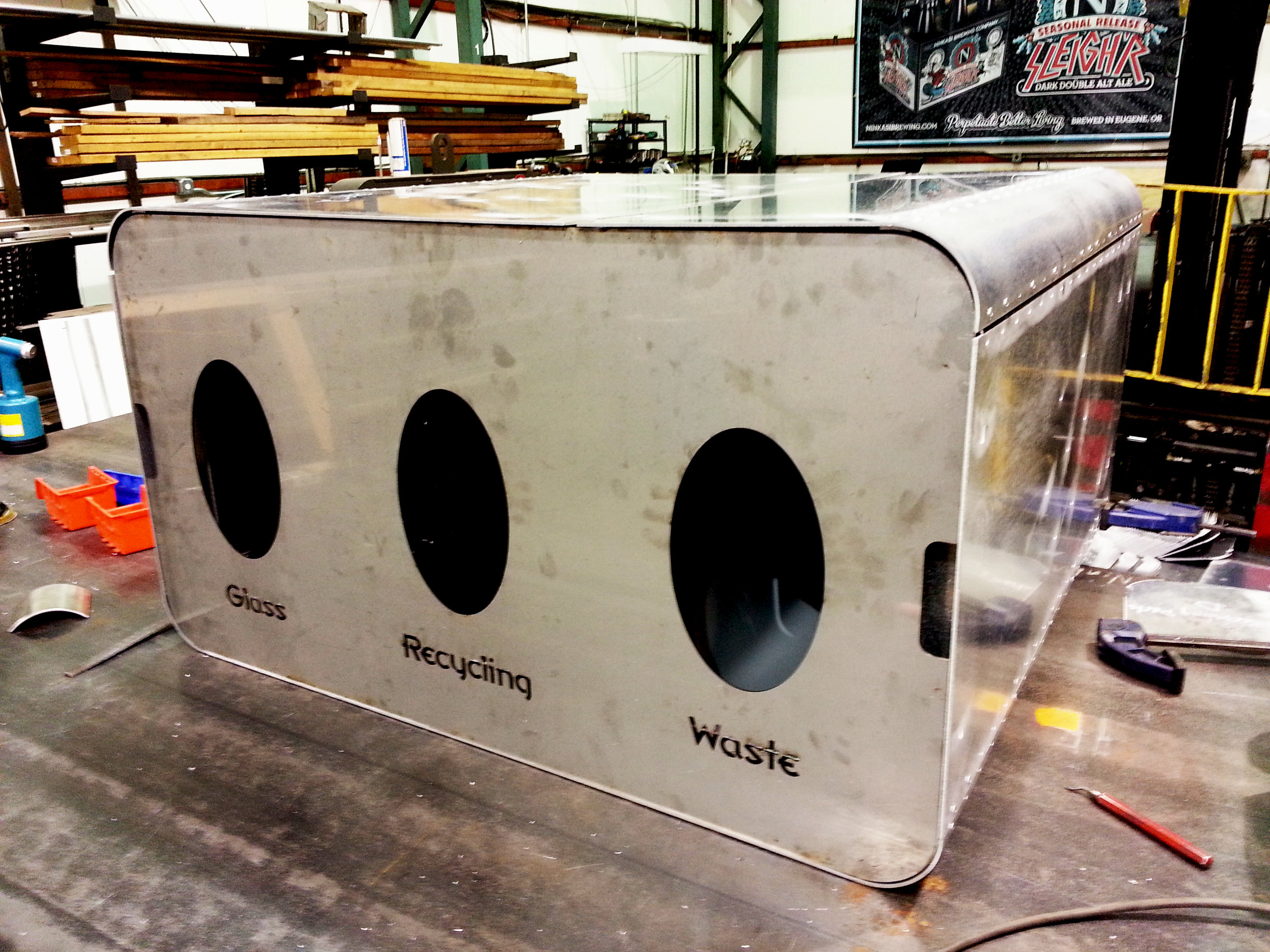 Fabrication of Ninkasi Brewing Branded Recycling Bins