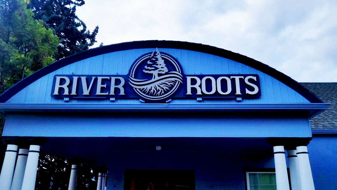 River Roots Corporate Building Sign