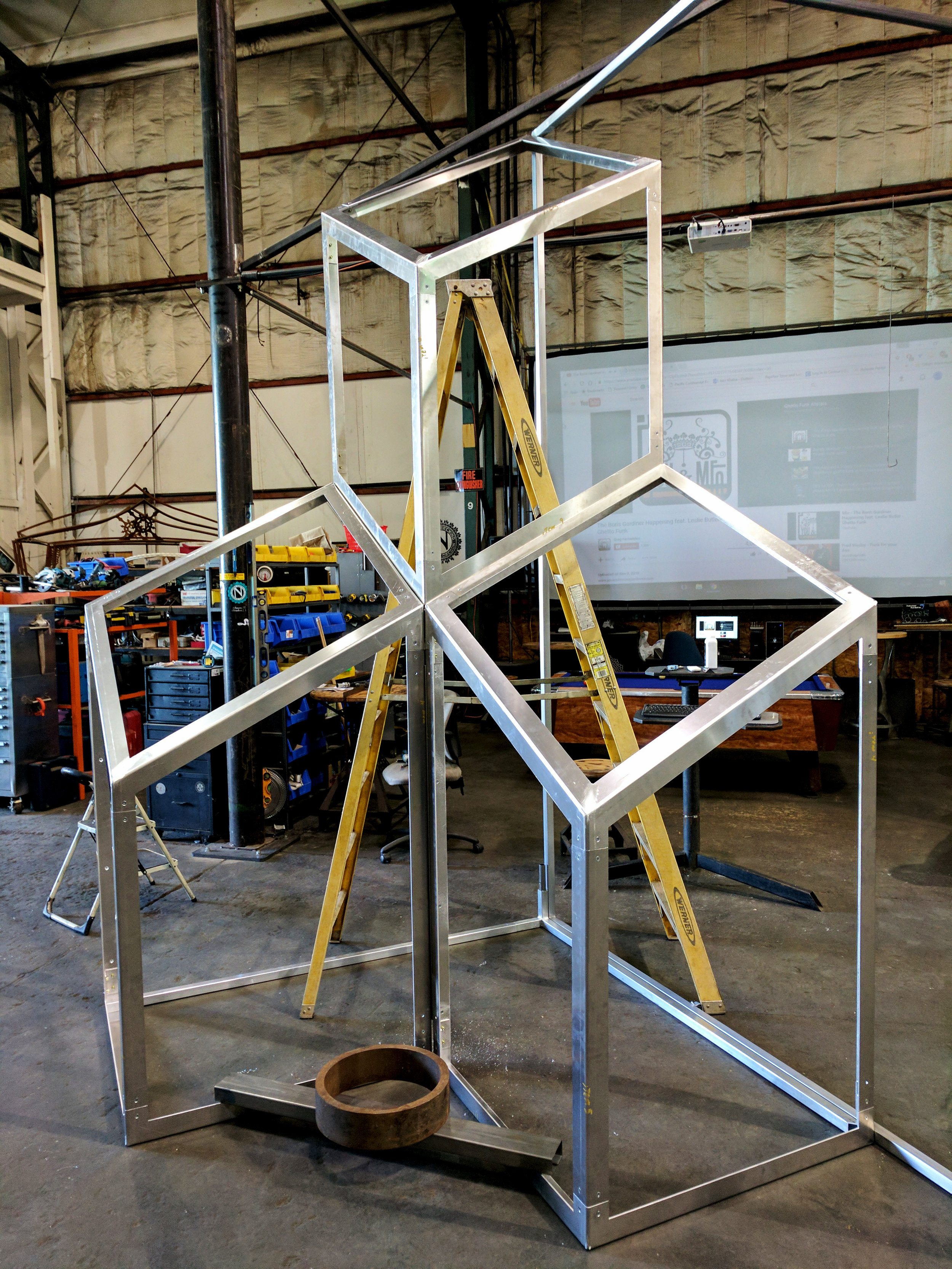 Geometric Fabricated Aluminum Cube