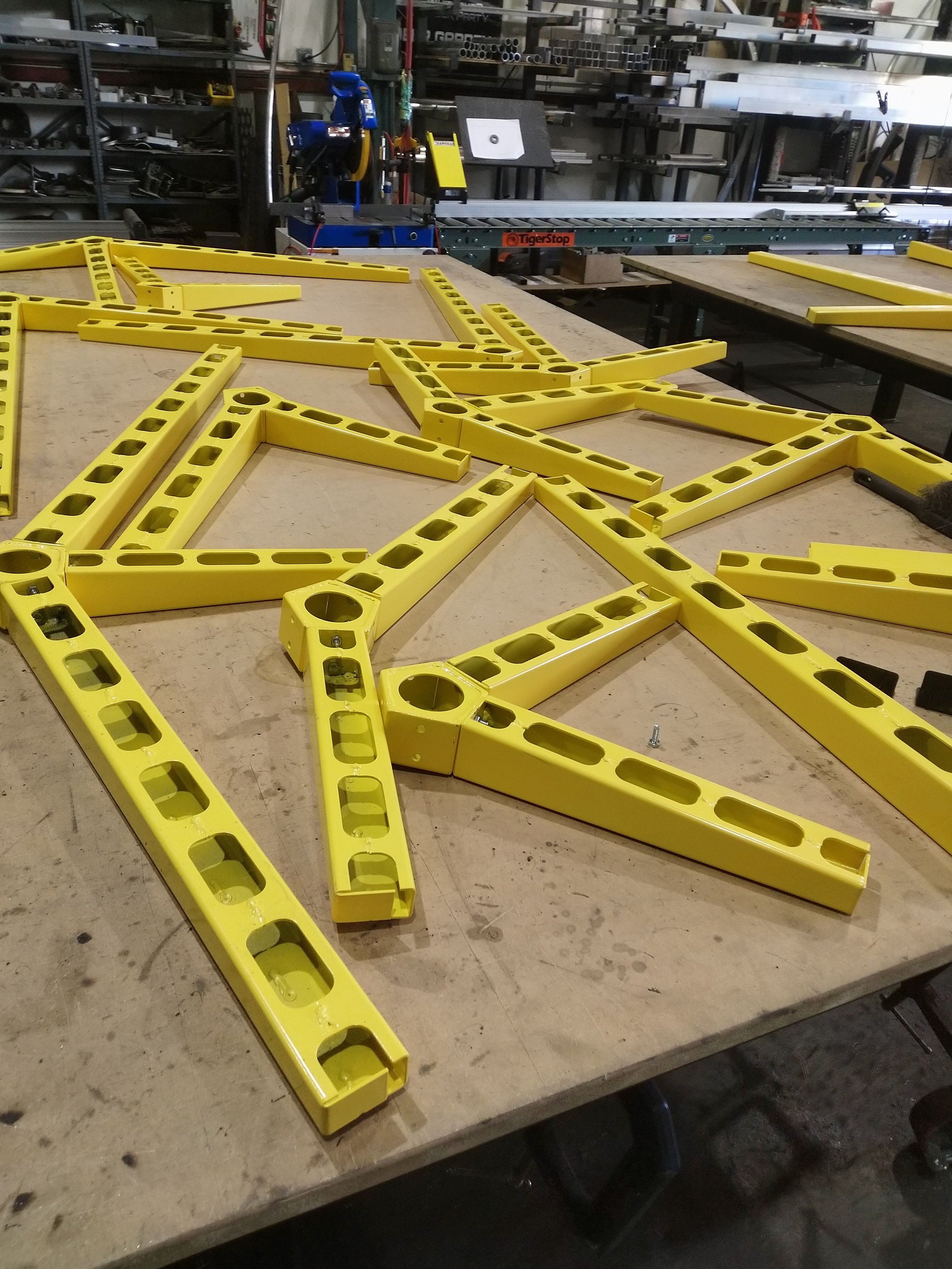 Fabrication of La Poste Yellow Powder Coated Tree