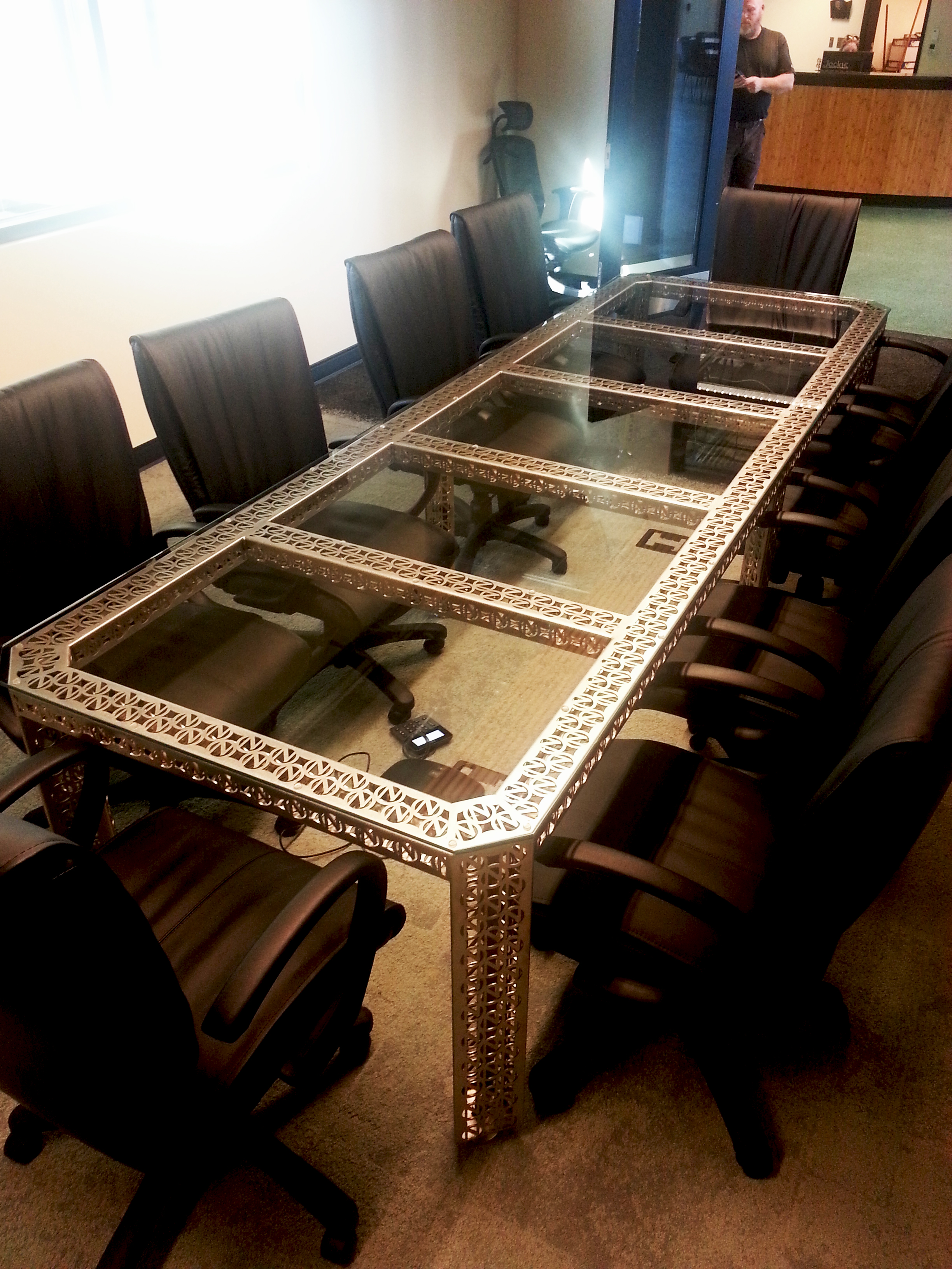Ninkasi Brewing Branded Boardroom Table with Glass Top