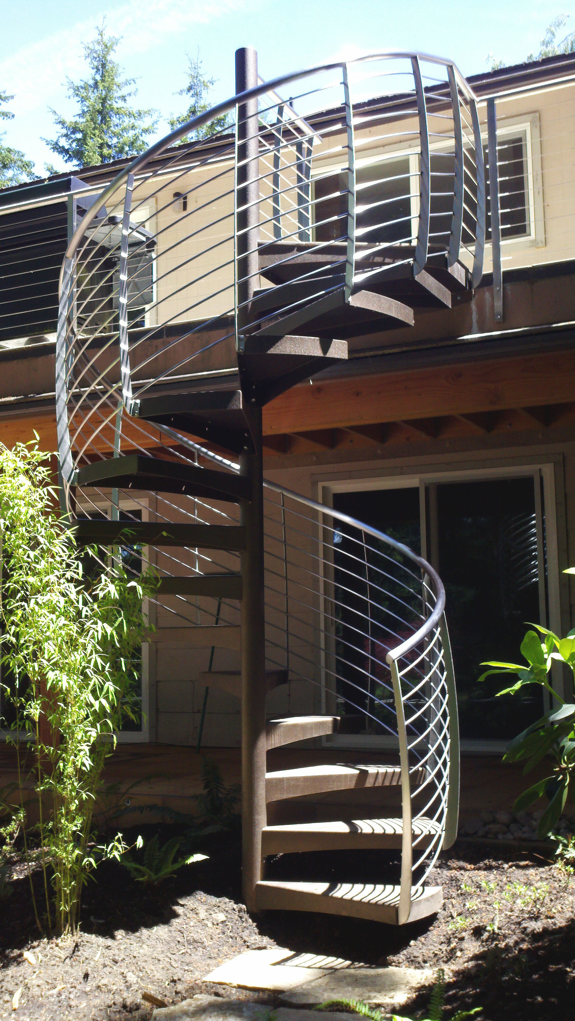 Exterior Spiral Staircase with Curved Balusters