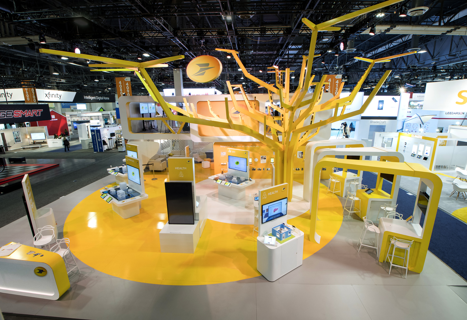 Laposte Powder Coated Yellow Fabricated Trade Show Tree