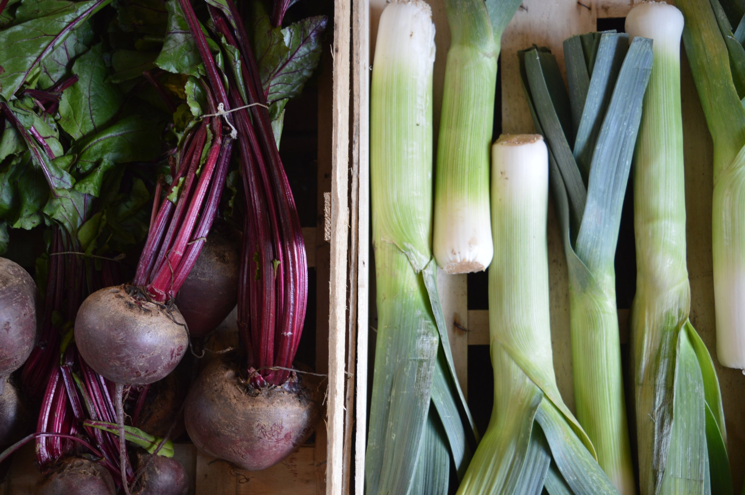 Beets n leeks. Your body loves 'em. Don't forget to eat the beet greens!