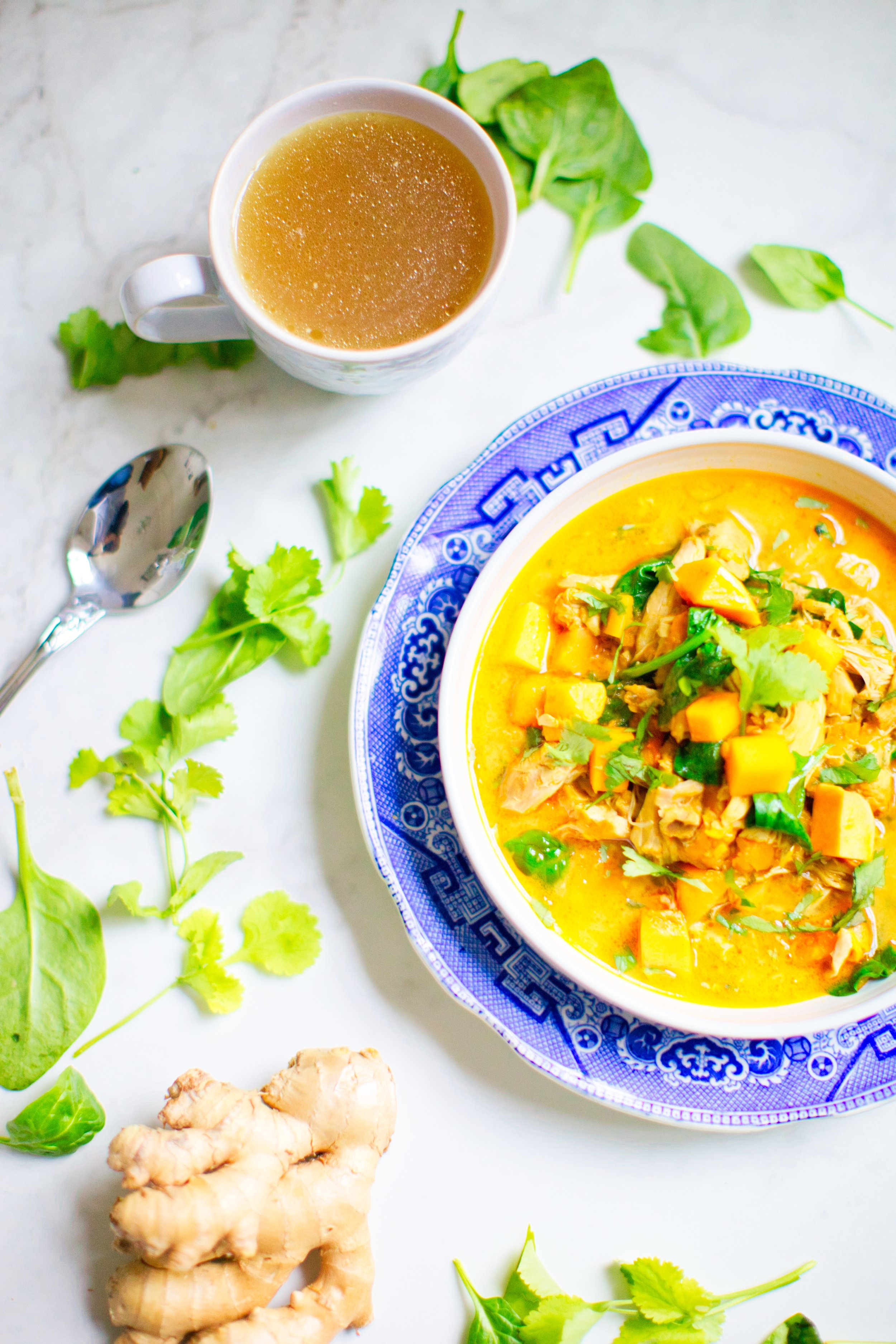 A mug of bone broth and a coconut curry strew. Good for you and yum!