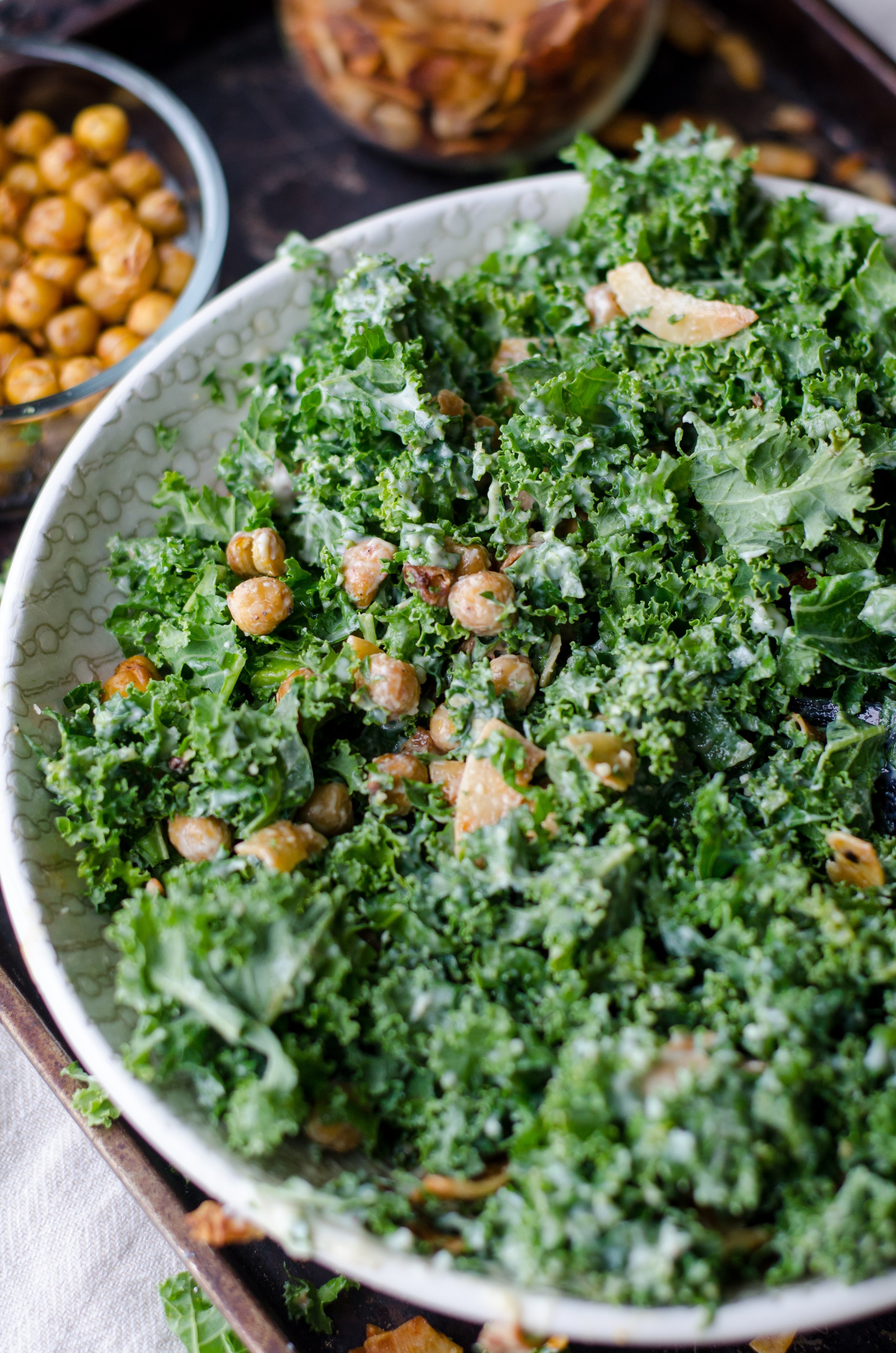 If you know me well, you know my kale salad. Kale, lemon juice, avocado oil, salt, pepper, maple syrup and toasted almonds or roasted chickpeas.
