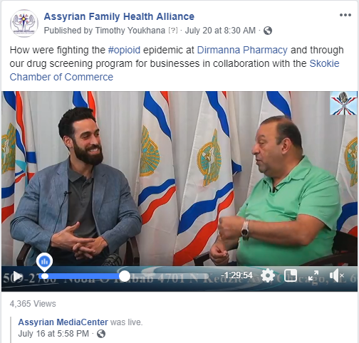 Our President, Dr. Timothy Youkhana being interviewed by Yousip Rasho, Host of Assyrian MediaCenter's broadcast regarding opioid abuse.
